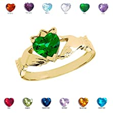 buy Solid 10K Yellow Gold Green Cz Birthstone Claddagh Ladies Promise Ring (Size 6)