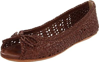 FRYE Women's Malorie Woven Peep Flat, Dark Brown, 8.5 M US