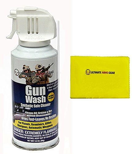 Ultimate Arms Gear Gun Wash Synthetic Safe Cleaner Deep Jet Action Spray Travel Range Cleans Oil Grease Dirt Firearms/Pistols/Revolvers/Rifles/Shotguns/Auto + Care Silicone Lubricated Cleaning Cloth (Handgun Grease compare prices)