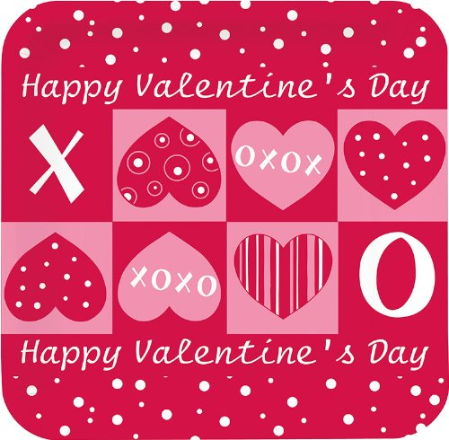 Creative Converting Valentine's Day Deep Dish Square Lunch Plates with Crafty Hearts Design, 8 Per Package