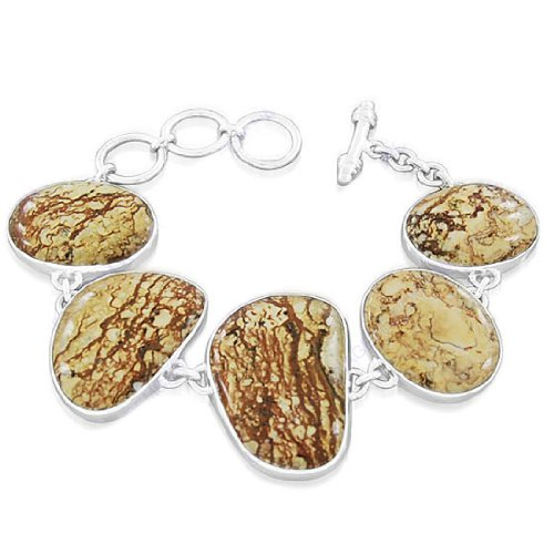 925 Sterling Silver Natural Picture Jasper Gemstone Antique Style Fashionable Designer Party Wear Men's Link Bracelet 8