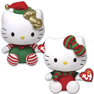 TY Hello Kitty Holiday Red White and Green Plush Beanie Babies Set/2