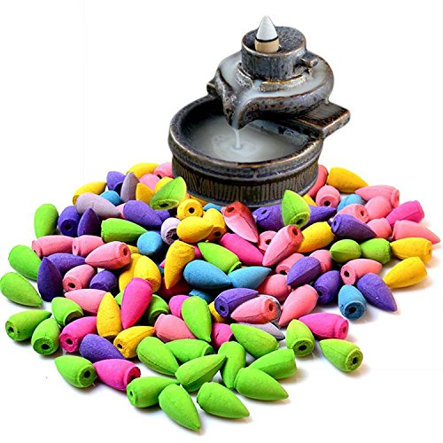 70 Pcs Backflow Natural Smoke Pagoda Indoor Incense Cone Bullet Aromatherapy Rose Lavender Jasmine (Variety Incense Cones compare prices)
