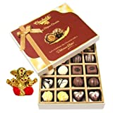 Chocholik Belgium Chocolates - 20pc Milk And White Chocolate Treat With Small Ganesha Idol - Diwali Gifts