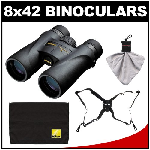 Nikon Monarch 5 8x42 ED ATB Waterproof/Fogproof Binoculars with Case + Easy Carry Harness + Cleaning Cloth