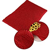 Marrywindix Super Soft! Nonslip Microfiber Chenille Floor Mat Bedroom Area Rug Carpet (Red, 50cm*80cm)