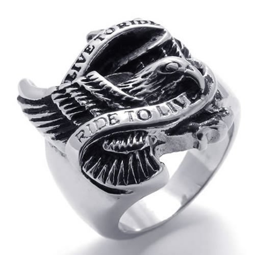 KONOV Jewelry Vintage Stainless Steel Band Biker Ring With Eagle and