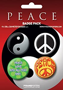 PEACE - BP 27 - 4 Stück Big-Buttons Badge pack Symbole - Grösse Ø3,8 cm