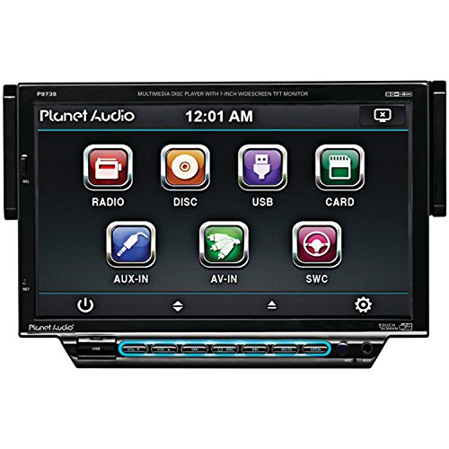 Planet Audio P9738 In-Dash Single-Din 7-Inch Motorized Detachable Touchscreen Dvd/Cd/Sd/Mp4/Mp3 Player Receiver With Remote