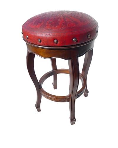 New World Trading Spanish Heritage Round Barstool, Red
