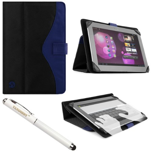 Vg Soho 2 Piece Nylon Folio Case Cover & Stand For Asus Memo Pad 10 Series 10.1-Inch Tablets + Vangoddy Stylus Pen & Laser (Blue) front-992311