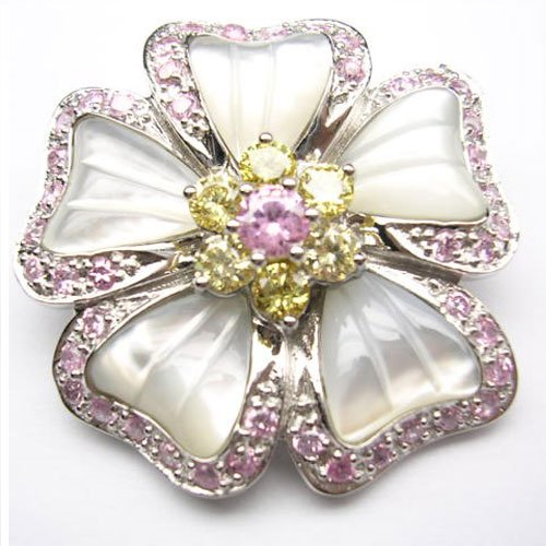 C.Z. (.925) STERLING SILVER PINK MOTHER OF PEARL FLOWER RHODIUM PLATED PIN (Nice Holiday Gift, Special Black Firday Sale)