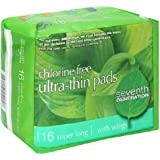 Seventh Generation Pads, Ultra-Thin, Super Long, with Wings, 16 pads (Pack of 6)