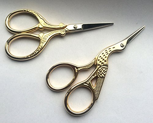 TWO High Quality 3.5 Inch Gold Plated Stainless Steel Scissors for Embroidery, Sewing, Craft, Art Work & Everyday Use - Ideal as a Gift 5