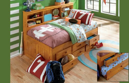Twin Daybed Bookcase with 3 Drawers and Trundle, Desk, Hutch, Chair and Bookshelf in Honey Finish