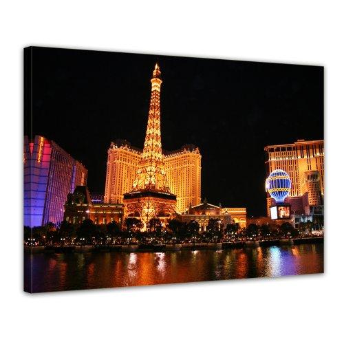 Bilderdepot24 Leinwandbild Abend in Las Vegas - 70x50 cm 1 teilig - fertig gerahmt, direkt vom Hersteller