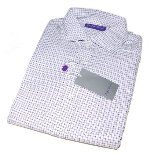 Polo Ralph Lauren Purple Label Mens Dress Shirt White Black Check Italy XL