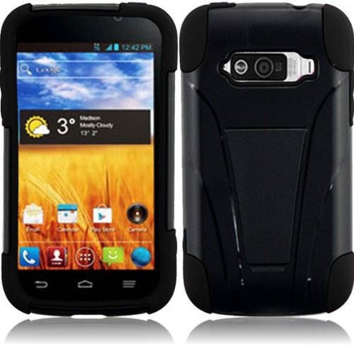 Pleasing Black Premium Double Protection 2 in 1 Hard + Silicon Hybrid Challenger Case Cover Protector with Kickstand for ZTE Imperial N9101 (by US Cellular) with Free Gift Reliable Accessory Pen (Zte Imperial N9101 compare prices)