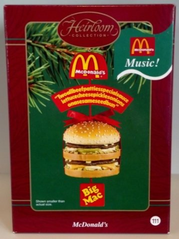 Carlton Heirloom Collection 'Music' Ornament (CXOR-103J) McDonald's 'BigMac' - 2003