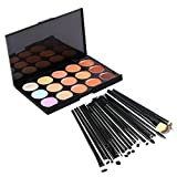 Jmkcoz 20pcs Makeup Kit Eye Brushes 15 Colors Contour Face Cream Makeup Concealer Palette