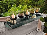 Wood Candle Tray - 27.5 in. Rustic Finish Tray with Five Metal Candle Holders
