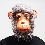 かぶりもの マスク 仮面 お面 面具 なりきり マスク 猿 チンパンジーパンダ 犬 干支 マスク ハロウィン 仮装 宴会 パーティー (グレー猿お面)