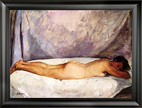"Nude Woman Lying Down by Henri Lebasque - 21"" x 28"" Framed Premium Canvas Print"