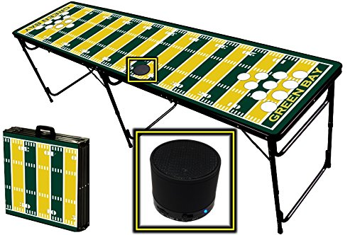 8-Foot Professional Beer Pong Table W/ Holes & Wireless Bluetooth Speaker - Green Bay Football Field Graphic