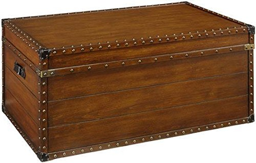 "37""W Steamer Trunk Coffee Table, 17.5""Hx37""W, Luggage Brown front-475101"