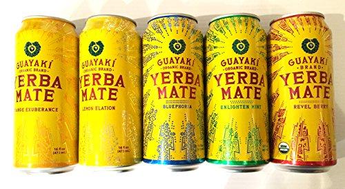 15 Pack - Guayaki Variety Pack - Lemon, Mint, Revel Berry, Bluephoria, Orange - 16oz.+ Energy Drink Outlet Sticker (Guayaki Energy Drinks compare prices)