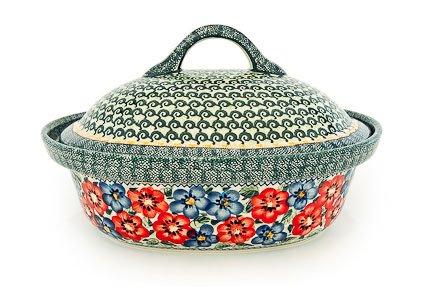 Polish Pottery Poppy Garden Roaster With Lid