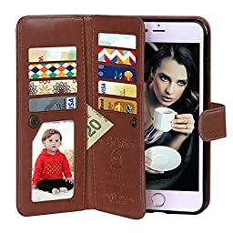 iPhone 6 Case, Vofolen 2 in 1 iPhone 6S Case Wallet Folio Flip PU Leather Case Protective Shell Magnetic Detachable Slim Back Cover Card Holder Slot Wrist Strap for iPhone 6 6S 4.7 inch (Brown)