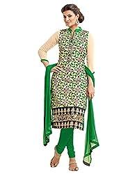 Surat Tex Beige & Black Color Party Wear Embroidered Chanderi Un-Stitched Dress Material-H994DL6002