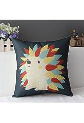 "DuoLe Cotton Linen Square Decorative Cushion Cover Sofa Throw Pillowcase 18"" x 18"", Hedgehog"