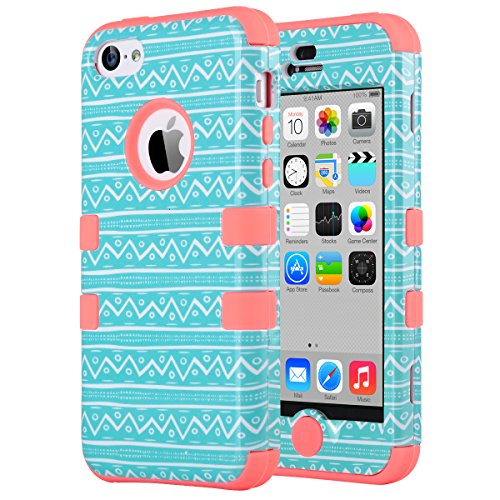 iPhone 5C Case, ULAK 3in1 Anti Slip IPhone 5C Case Hybrid with Soft Flexible Inner Silicone Skin Protective Case Cover for Apple iPhone 5C Zigzag + Coral Pink (Iphone 5c Protective Cases Pink compare prices)
