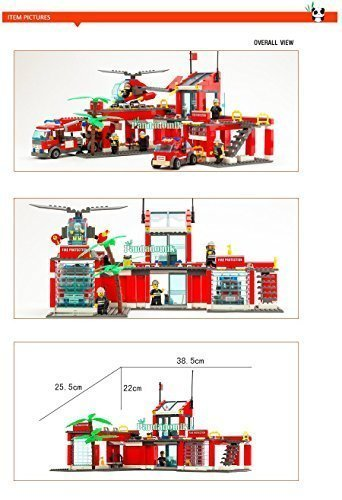 Super Large Fire Station 774 Pcs Building Blocks Compatible with lego Helicopter / Educational Bricks Toys/ Learning Education (Lego Rc Tank compare prices)