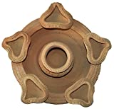 Handyshoppers Clay Hand Painted Decorative Diya (10 cm x 20 cm x 10 cm, Brown)