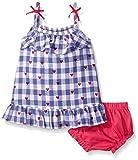 Hatley Girls' Lady Bug Garden-Gingham Picnic Dress, Blue, 12-18 Months