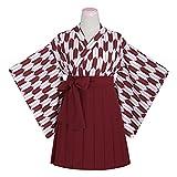 WISO 鲤帜和風プリント着物 羽织の上着+百ひだ半身スカート 制服 (L, 矢羽柄)