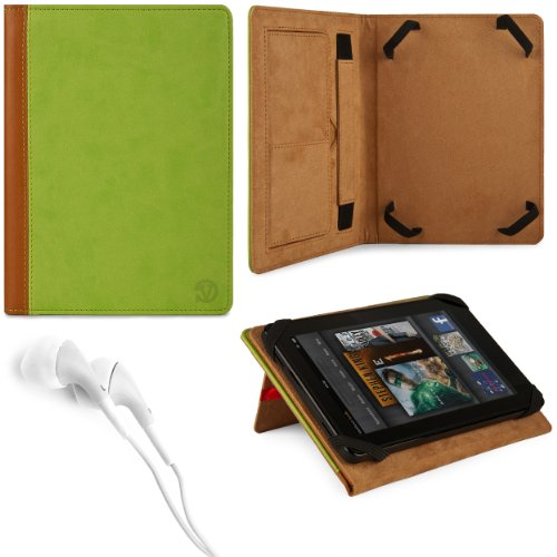 Green & Brown Vg Faux Leather Standing Portfolio Case Cover For Asus Memo Pad Smart 10 Me301T / Asus Memo Pad Fhd 10 / Asus Vivotab Smart Me400 / Asus Vivotab Rt Tf600T / Asus Transformer Pad Infinity Tf700T / Tf300Tg / Tf300T 10.1 Inch Tablets + White Ha front-1022943