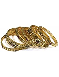 Shingar Jewellery Ksvk Jewels Antique Gold Plated Polki Kundan Bangles Set In 2.6 Size For Women (8178--m-2.6)
