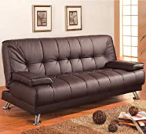 Hot Sale Coaster Futon Sofa Bed with Removable Arm Rests, Brown Vinyl