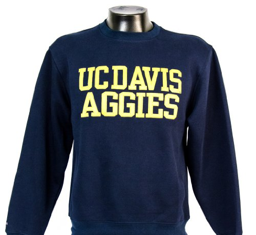 Uc Davis Men'S Crew Navy With Comfort Twill Lettering (X-Large)