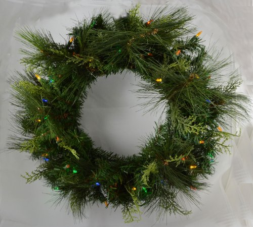 Battery Operated Multi Colored Led Pine Wreath With Timer