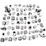 "WM KING Antique Silver Plated Oxidized Metal Beads Charms Set Mix Lot - Compatible with Pandora Biagi Troll Chamilia Bracelets w/ ""BM"" Pouch (40Pcs)"