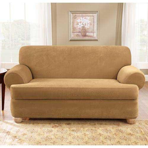 Sale Antique Stretch Pique 2 Piece T Cushion Sofa Cheap Low