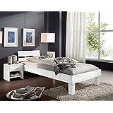 SAM® Massivholzbett Campino, Bett aus Kernbuche geölt, weiß, 120 x 200 cm, geteiltes Kopfteil