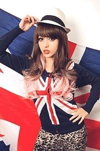 X&Y ANGEL- New Two Tones Long Wavy Kanekalon Heat Resistant Hair Wig Wigs Pink Mixed Brown K019