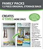 12 PACKS - B&E Home Essential Vacuum Storage Bags (3 Large/ 5 Medium/ 2 Large Travel Bags/ 2 Medium Travel Bags) - Set of 12