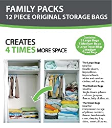 12 PACKS - B&E Home Essential Vacuum Storage Bags (3 Large/ 5 Medium/ 2 Large Travel Bags/ 2 Medium Travel Bags) - Set of 12